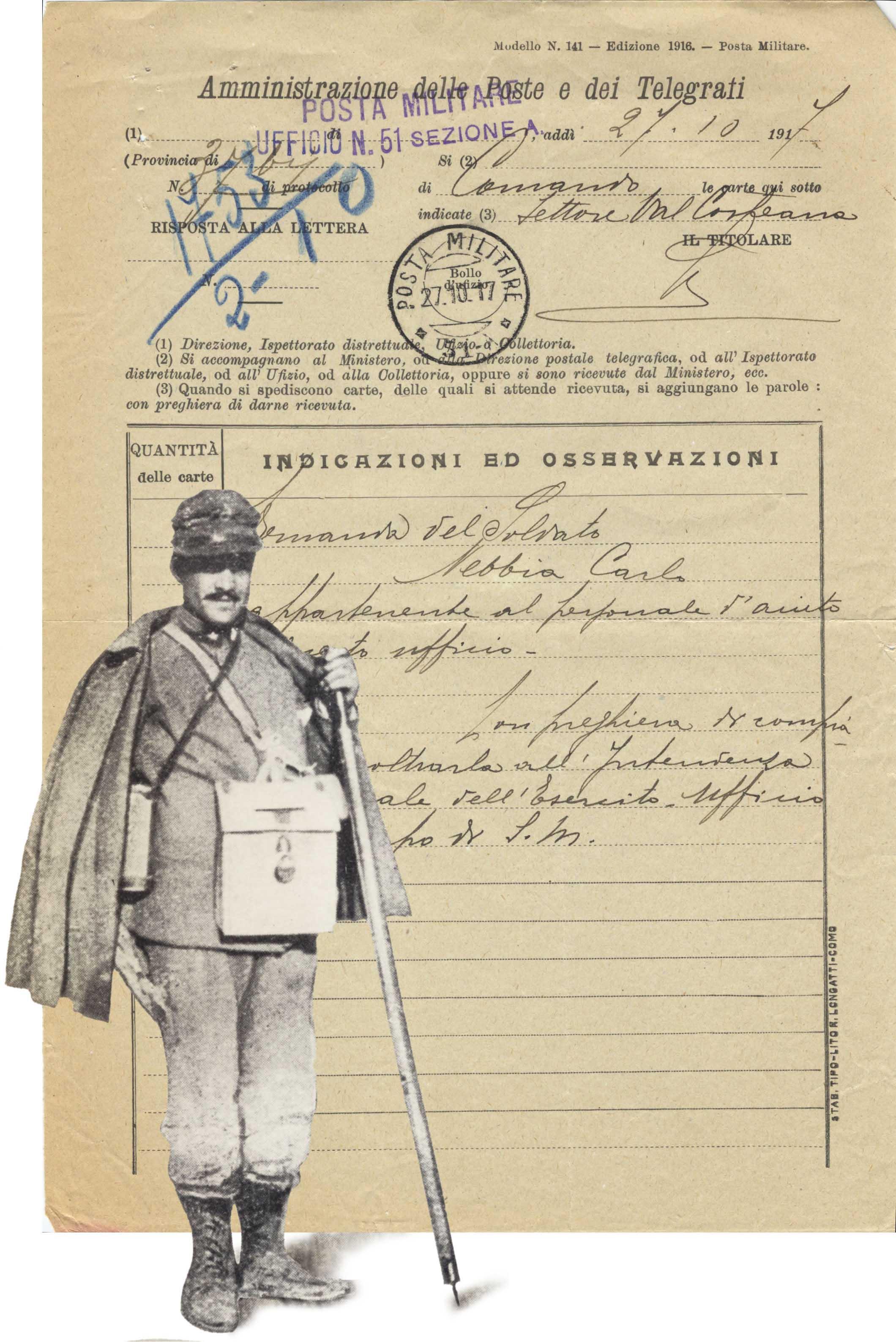 """Il servizio postale """"a parte"""" della posta militare presenta non pochi esempi caratteristici a partire dalla Grande Guerra proprie bollature e una"""
